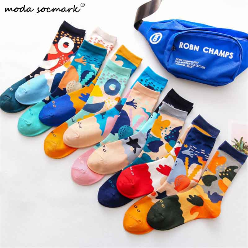 Moda Socmark 2020 Spring New Happy Socks Men/Women Funny Underwater World Fashion Couple Socks Casual Cotton Skateboard Socks