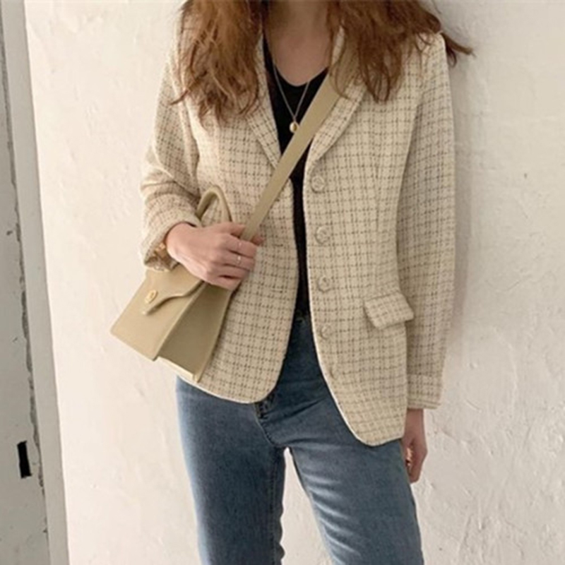 Plaid Tweed Blazer Women Notched Korean Blazers And Jacket Casual Jacket Oversized Coat Single Breasted Vintage Long Sleeve V577