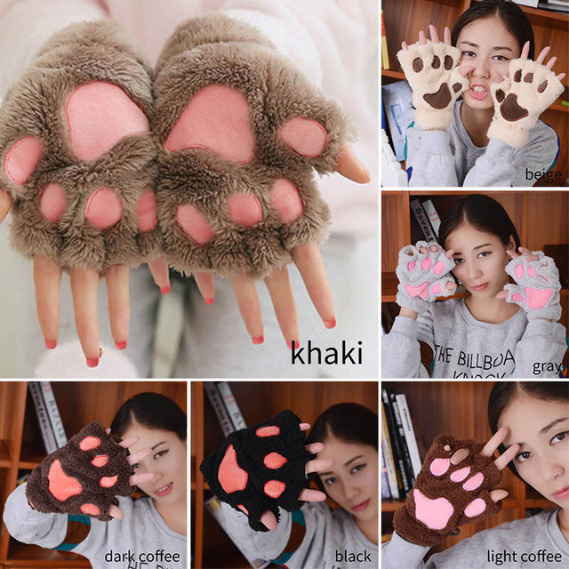 Plush Thicken Big Cat  Claw Winter Supplies Warm Gloves 1 Pair Girls Gloves Cute Cartoon Half Finger 3