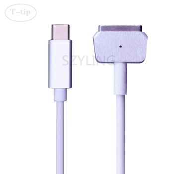 Replacement USB-C Type-C to Magnetic 2 T-Tip Charger Cable for 45W60W85W Mac Book Air 11 13 inch