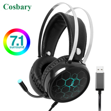 Cosbary Gamer Headset 3.5mm Plug LED Light Earphone Stereo Surround Gaming Headphone with Microphone for PC Computer Laptop PS4 high quality computer gaming headphone with microphone big earphone for ps4 gamer xiaomi xiomi mobile phone laptop pc headset