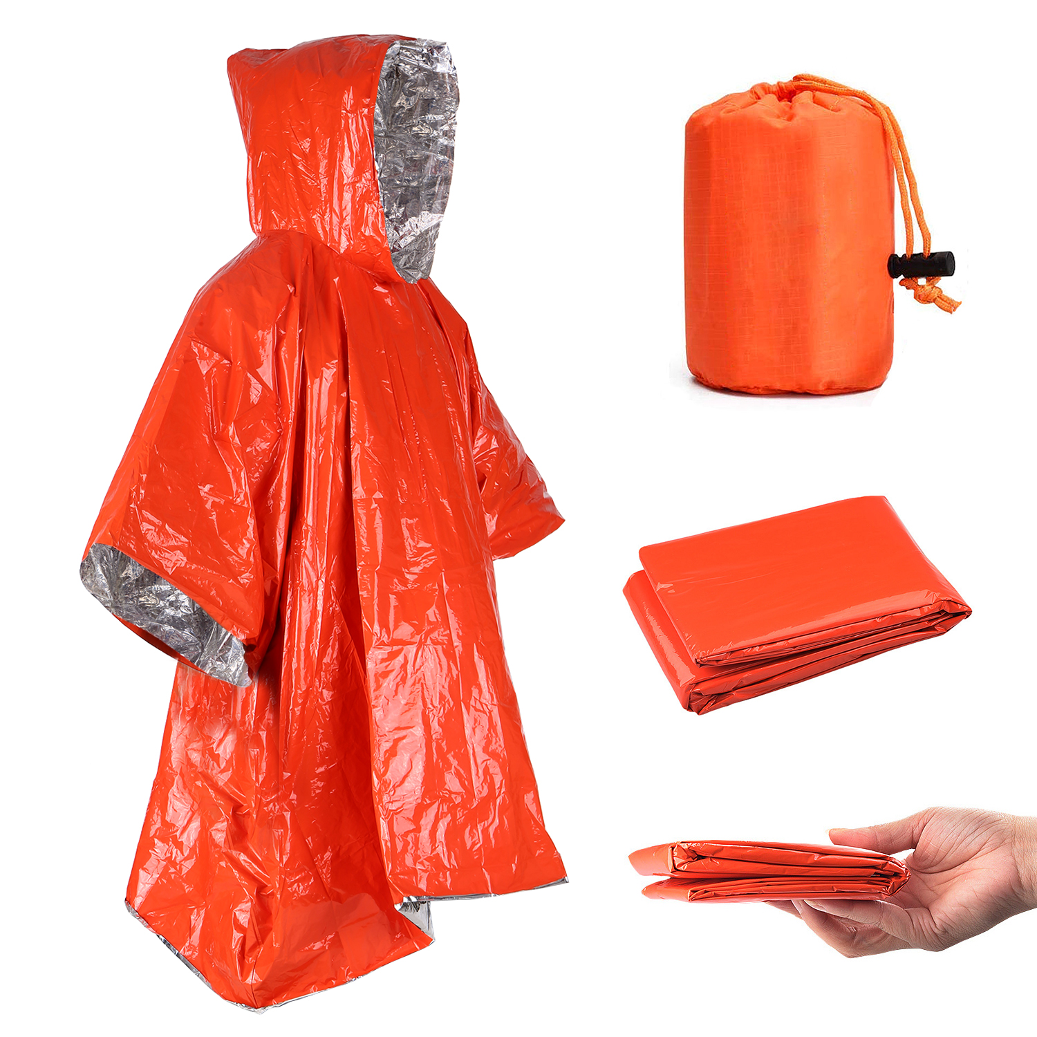 Orange Emergency Raincoat Aluminum Film Disposable Poncho Cold Insulation Rainwear Blankets Survival Tool Camping Equipment|Safety & Survival|   - AliExpress