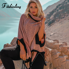Fitshinling в богемном стиле на осень-зиму свитер-пончо плащ Batwing рукава негабаритных Для женщин пуловер или свитер с высоким, плотно облегающим шею воротником; вязаный джемпер