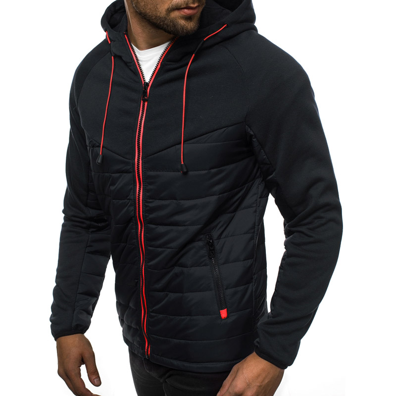 2020 Autumn Winter Hooded Jacket Men Casual Slim Patchwork Zipper Coat Men Plus Size 3XL Long Sleeve Mens Jackets Oversized Coat