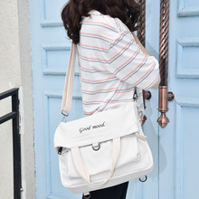 Canvas Single Shoulder Womens Handbag College Style New Student Bag Multifunctional Fashion Mens