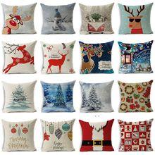 Pillow case 45 45 Christmas Series Elk Snowman Linen Printed Pillow Case Square Decorative Pillow Case