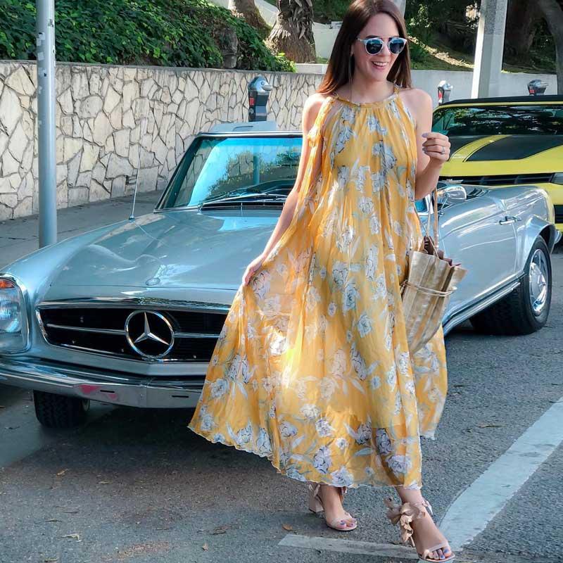 Gypsylady jaune lily imprimer boho robe sans manches longue en mousseline de soie robe d'été a-ligne chic tenue décontractée femmes 2019 nouveaux vestidos