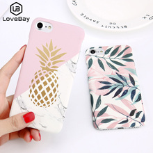 Lovebay чехол для телефона для iPhone 6, 6s, 7, 8 Plus, X, XR, XS, Max, 5, 5S, SE, мультяшный лист, цветок, геометрическая форма, ананас, Жесткий Чехол для iPhone X