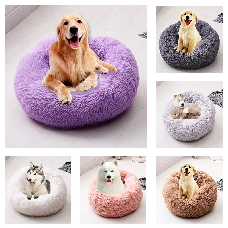 Long Plush Super Soft Pet Bed Kennel Dog Round Cat Winter Warm Sleeping Bag Puppy Cushion Mat Portable Cat Supplies