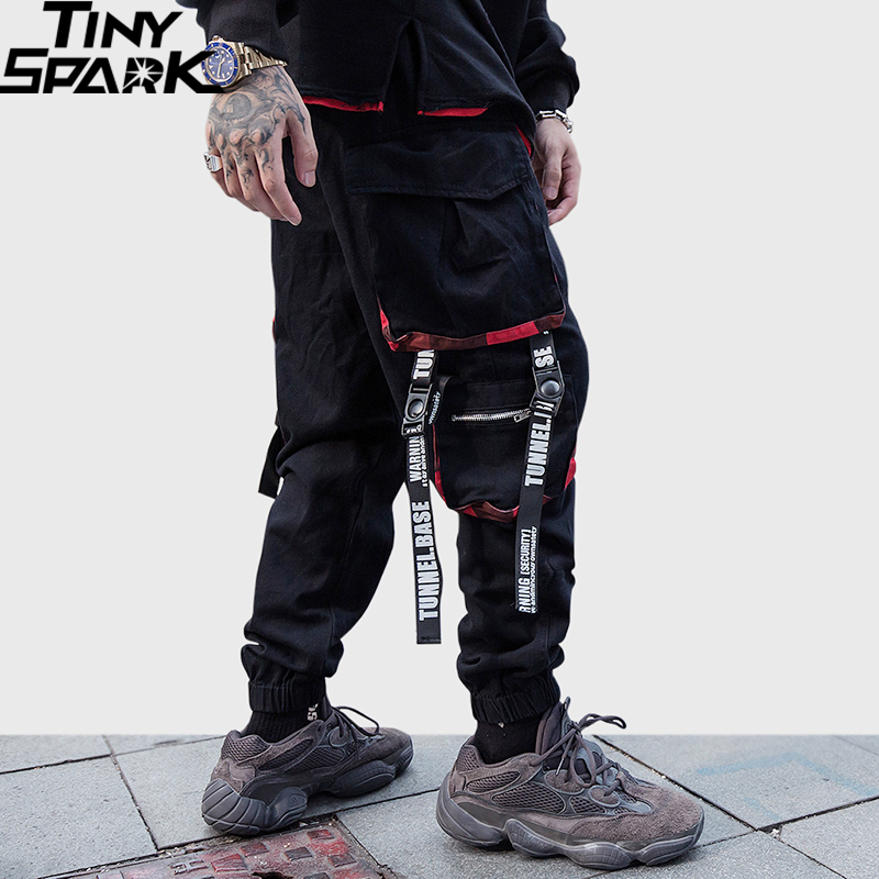 Men Hip Hip Cargo Pants Streetwear Harajuku Joggers Pants Tactical Zipper Pockets HipHop Swag Ribbon Harem Pants Track Trousers