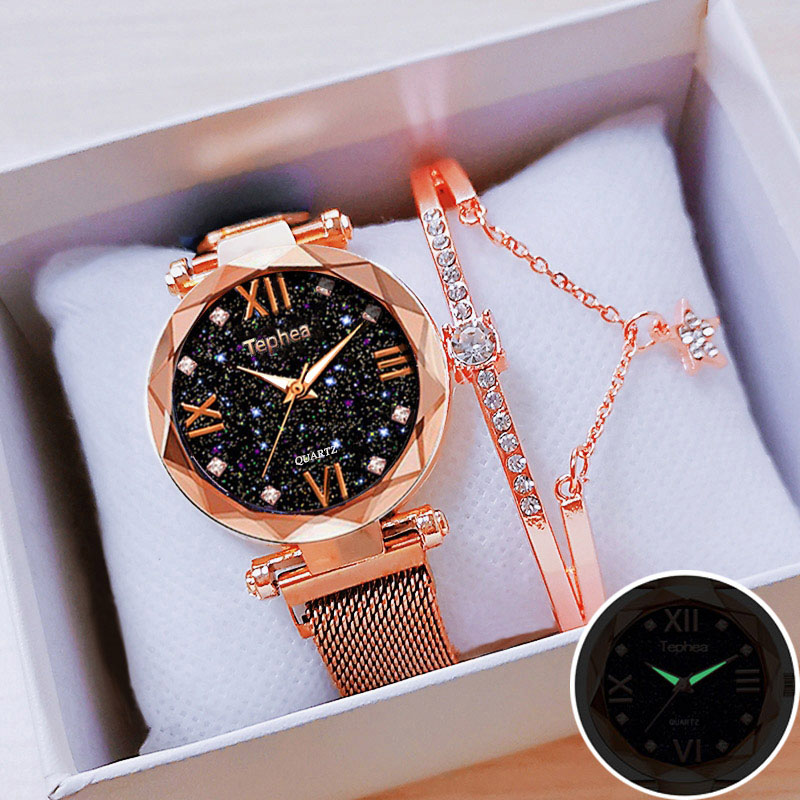 Women Magnetic Watch Set With Bracelet Box Starry Sky Ladies Wrist Watches 2019 Relogio Feminino Reloj Mujer Watch Rose Gold For