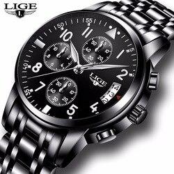 2019 LIGE męskie zegarki Top marka luksusowy męski wodoodporny zegarek biznesowy kwarcowy mężczyźni Casual Sport Wrist Watch Relogio Masculino + Box