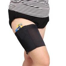 1 шт., женские анти натирающие Цветочные кружевные повязки для бедер, сексуальные тонкие ножные согревающие нарукавники, карман для телефона, карман для карт, противоскользящий карман для бедра