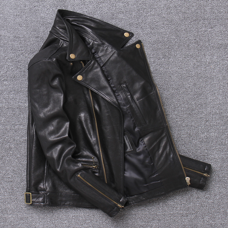 100% Natural Sheepskin Coat Men Autumn Spring Clothes 2020 Streetwear Genuine Leather Jacket Man Moto Biker Real Leather Coat 15