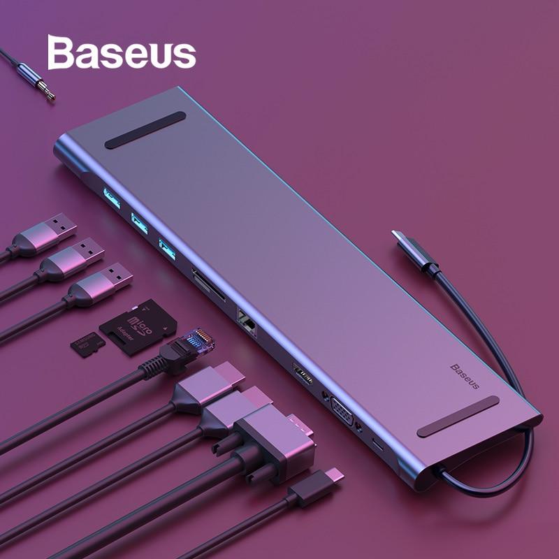 Moyeu de USB Type C Baseus à 3.0 moyeu USB HDMI RJ45 USB pour accessoires MacBook Pro répartiteur USB Multi 11 Ports moyeu de USB-C de Type C