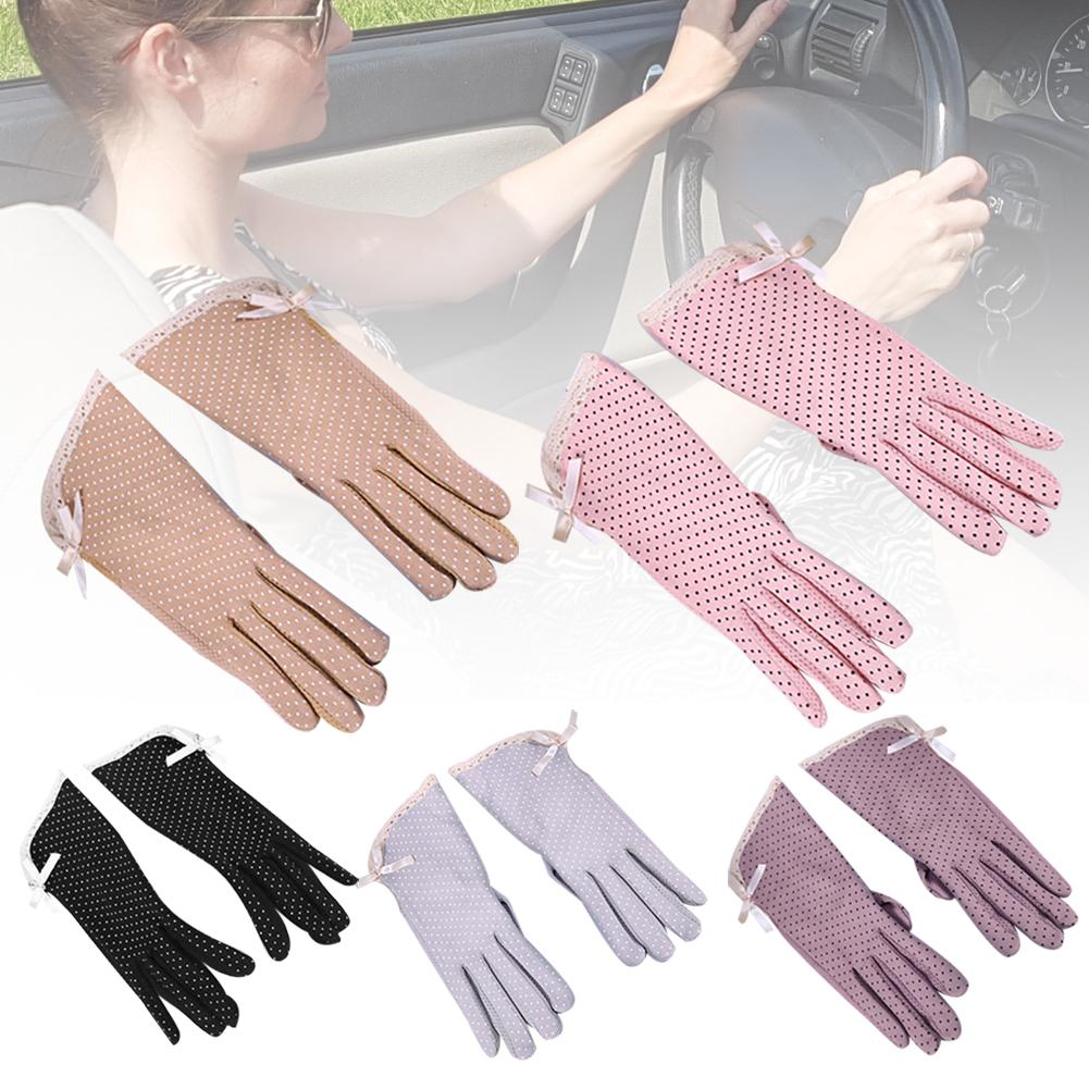 Summer Cotton Women Lace Anti-Slip Touch Screen Sun Protection Driving Gloves