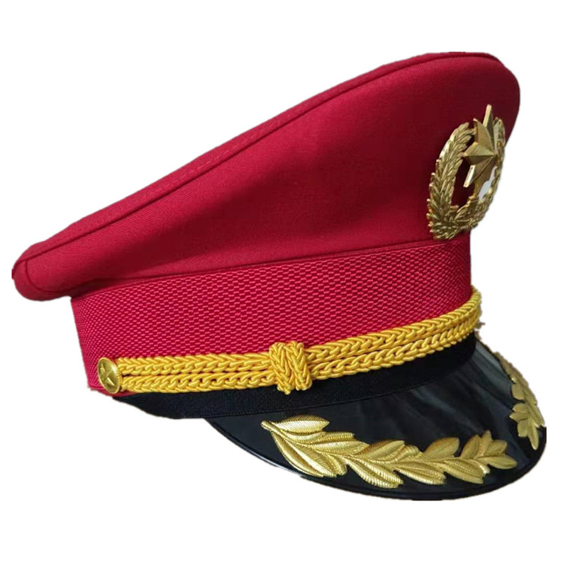 Spring Autumn Red Officer Visor Cap Army Hat Cortical Military Hats Police Cap Cosplay As Halloween Christmas Gift