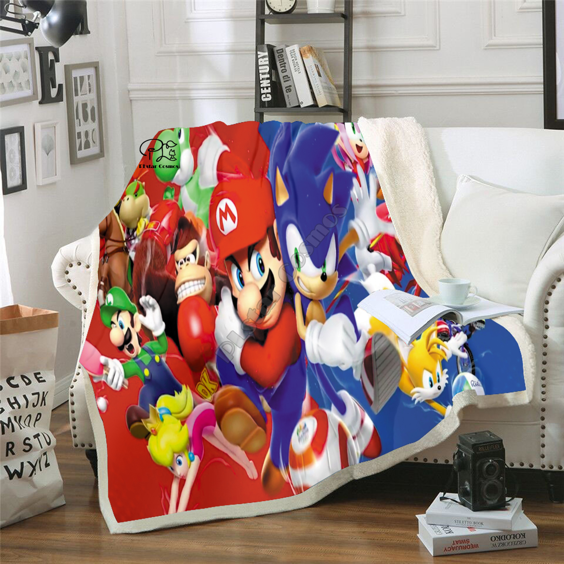 Kids Anime Super Sonic Mario 3D Blanket Fleece Cartoon Bendy Print Children Warm Bed Throw Blanket newborn bayby Blanket 007