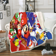 Kids Anime Super Sonic Mario 3D Blanket Fleece Cartoon Bendy Print Children Warm Bed Throw Blanket newborn bayby Blanket 005