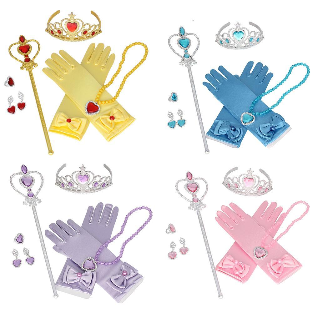 Princess Accessories Set Dress Up Belle Crown Snow White Sofia Necklace Cinderella Earring Gloves Rapunzel Anna Elsa Wig