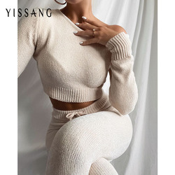 Yissang One Shoulder Knited Suit Sexy Chenille Two Piece Set Women Long Sleeve Crop Top And Drawstring Pant Suits Autumn Sets