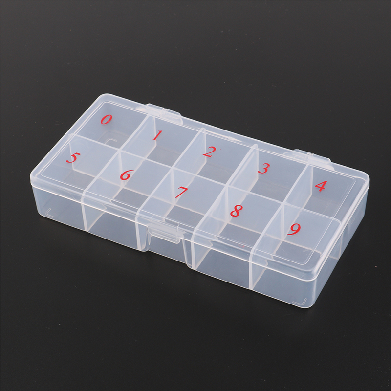 Useful 1PC False Nail Art Tips Box Storage Case Translucent Plastic Manicure Nail Tool Beauty Party Gift New 10/11 Cells