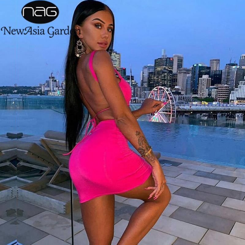NewAsia 2 Layers Two Piece Set 2 Piece Set Women Crop Top And Skirt Set Two Piece Outfits Matching Sets Active Wear Feminino