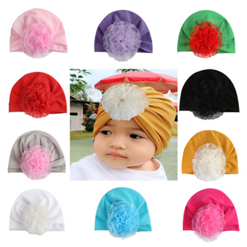 Winter Flower Baby Hats Solid Warp Knot Baby Headbands For Girls Beanie Hat Warm kidsTurban Hair Accessories Newborn