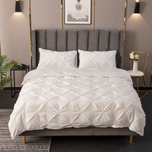 2/3pcs White Duvet Cover Pillow Case Set Pinch Pleat Third Dimension Bedding Sets Luxury Home Hotel Use(No Filling No Bed Sheet)
