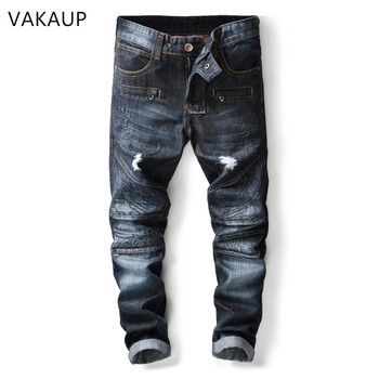 2019 Jeans Washed Blue Denim Pants Ripped Rider Biker Retro Motorcycle Hip Hop