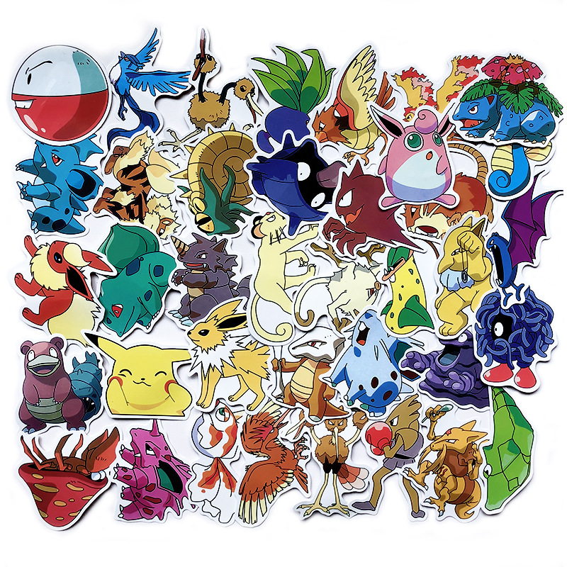 50 100pcs Pokemons Pikachu Stickers Pokemons Cartoon Waterproof Sun Protections Laptop Suitcase And Car Stickers