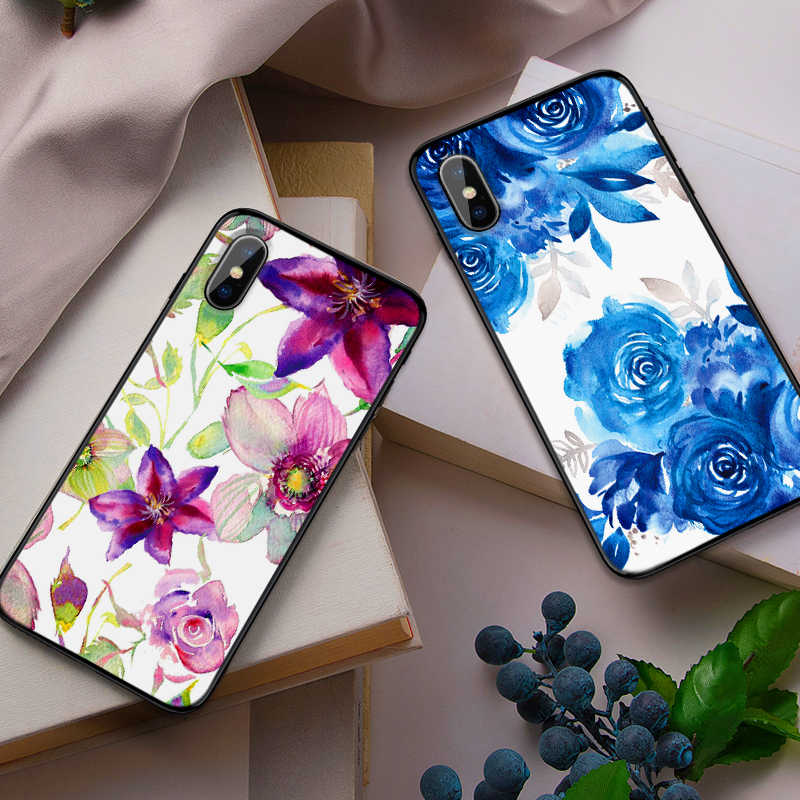 Lila blau blume kunst Luxus Schwarz Fall Für Samsung Galaxy S7 Rand S8 S9 S10 PLUS HINWEIS 8 9 M10 20 30 abdeckung