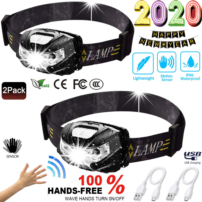 2020 New Year Promotion Set LED Headlamp Motion Sensor Headlight Light Lantern With USB Rechargeable Waterproof For Outdoor Camp