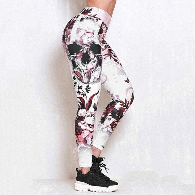 #Z30  Skull Women Printed Leggings Fitness Slim Workout Leggings Trousers For Women Fashion High Waist Leggings Clothing Mujer 3