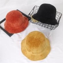 Autumn Winter Fisherman hat men and women street travel Corduroy Bucket caps Solid Color Women