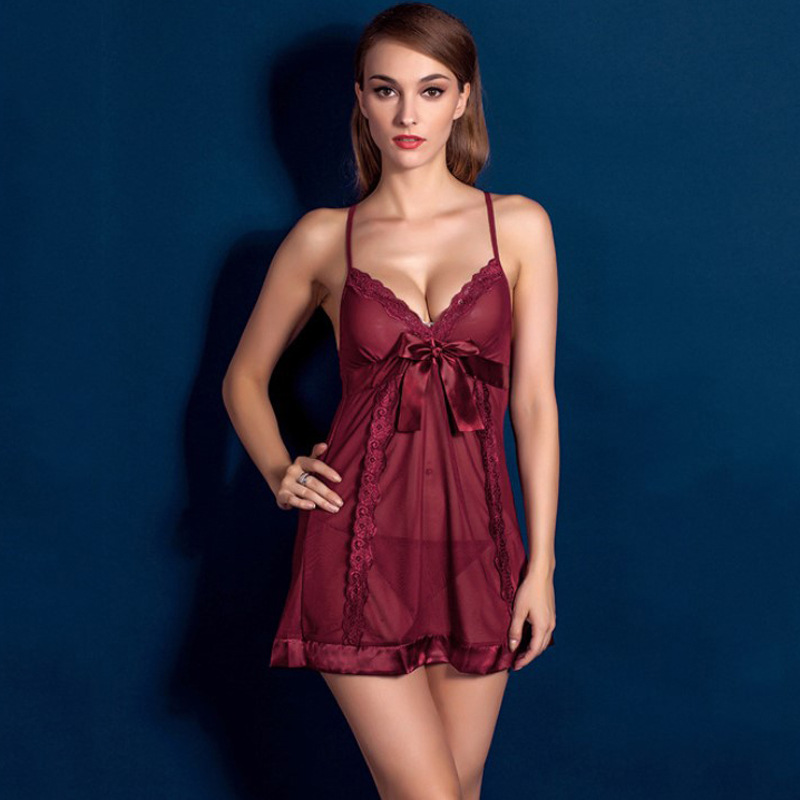 Night Gown See Though Spaghetti Strap Ropa Sexy Para El Sexo Lingerie Porno Night Dress Lace Women Sleepwear Womens Clothing