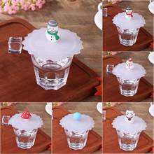 Silicone Leakproof Cup Cover Transparent Heat-resistant Food-grade Dustproof Reusable Snowman Lucky Cat Tea Cup Seal Cap Cup Lid(China)