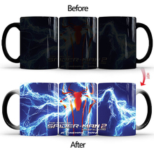 Creative Spider-Man Ceramics Coffee Mug  Marvel Avengers Hot Color-Changing Cup 350ml Spider Man Mugs For Kids Xmas Gifts