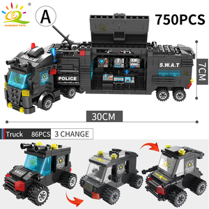 Image 3 - HUIQIBAO SWAT Police Station Truck Model Building Blocks City Machine Helicopter Car Figures Bricks Educational Toy For Children