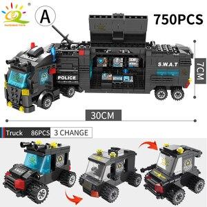 Image 3 - HUIQIBAO SWAT polis İstasyonu kamyon modeli yapı taşları şehir makinesi helikopter araba rakamlar tuğla eğitici oyuncak çocuklar için
