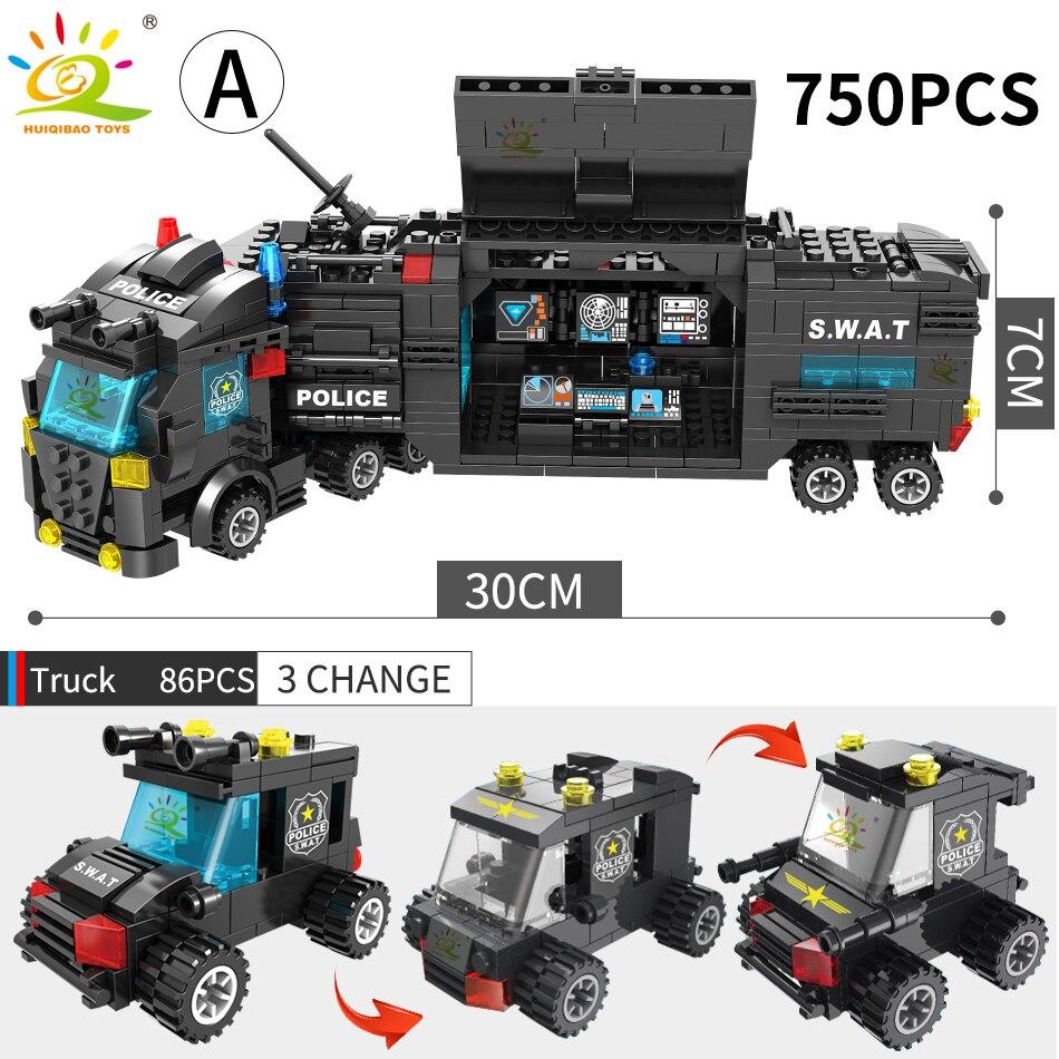 Image 3 - HUIQIBAO SWAT полицейская станция модель грузовика строительные блоки городская машина вертолет автомобиль фигурки кирпичи обучающая игрушка для детейБлочные конструкторы   -