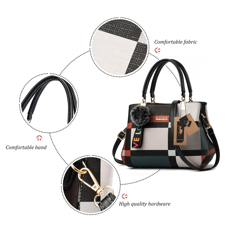 Image 3 - Hot 2020 New Casual Plaid Shoulder Bag Fashion Stitching Wild Messenger Brand Female Totes Crossbody Bags Women Leather HandbagsShoulder Bags   -