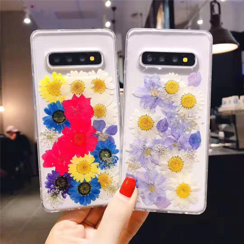 Real Flower S10 plus S10+ Glitter Transparent Soft TPU Phone Case For Samsung Galaxy Note 10 Note8 Note 9 S8 S9 Plus Cover Case image