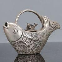 Collectable Chinese Tibet Silver Handwork Koi Fish Carp Goldfish Teapot Tea Set Water Pot Kangxi Mark
