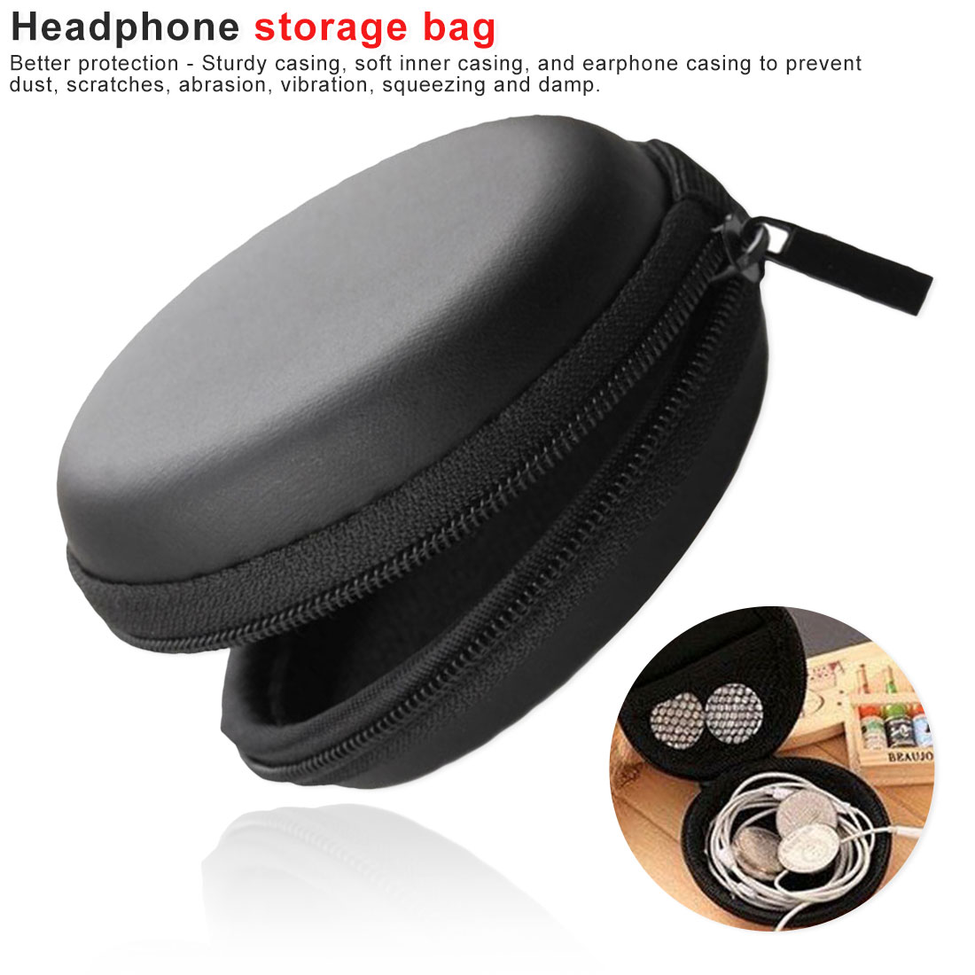 1Pc SD Portable Mini Round Carrying Hard Hold Case Storage for Earphone Earbuds Suppion earphone case small travel