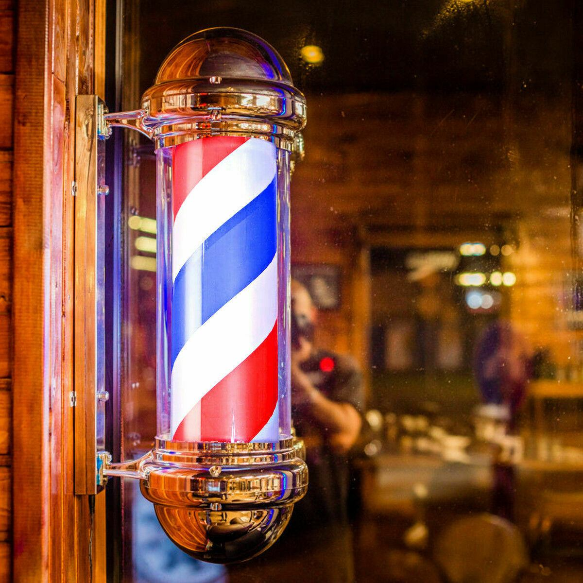 Poteau de coiffeur, éclairage rotatif de coiffeur de 60/75 cm, équipement de Salon de beauté, panneau de coiffeur, led d'accrochage mural, rouge, blanc, rayure bleue