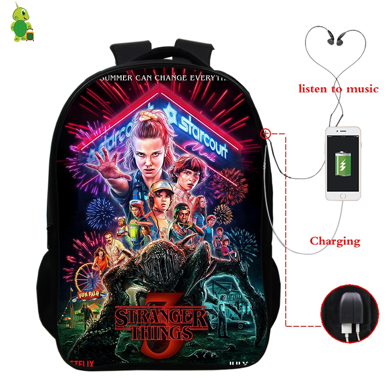 New Stranger Things Backpack Women Backpack Men USB Charge Laptop Backpack School Bag For Teenage Boys Girls Travel Bags