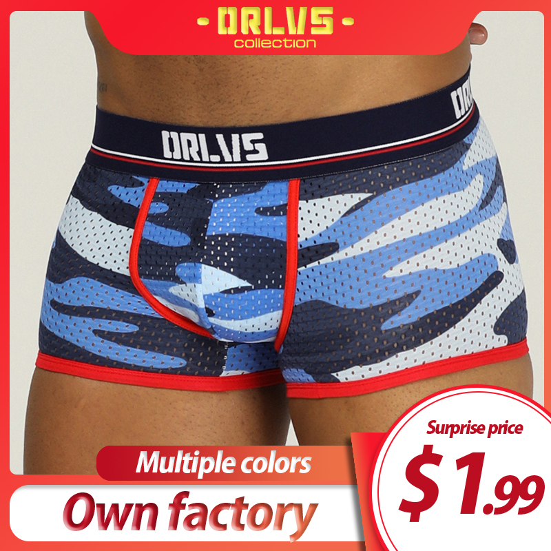 ORLVS Brand <font><b>sexy</b></font> underwear men <font><b>boxers</b></font> breathable <font><b>boxers</b></font> <font><b>para</b></font> <font><b>hombre</b></font> comfortable underpants Camouflage boxershorts mesh nylon image