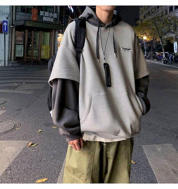 Hoodies Women Sweatshirt Couple Autumn/winter Fake Two-piece Hooded Pullover Student Korean Style Loose Top Velvet Thick Jacket 1