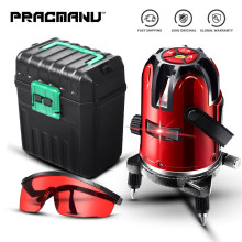 PRACMANU 5 Lines 6 Points Laser Level Automatic Self Leveling 360 Vertical&Horizontal Tilt Degrees Rotary LD 635nm Outdoor Mode(China)